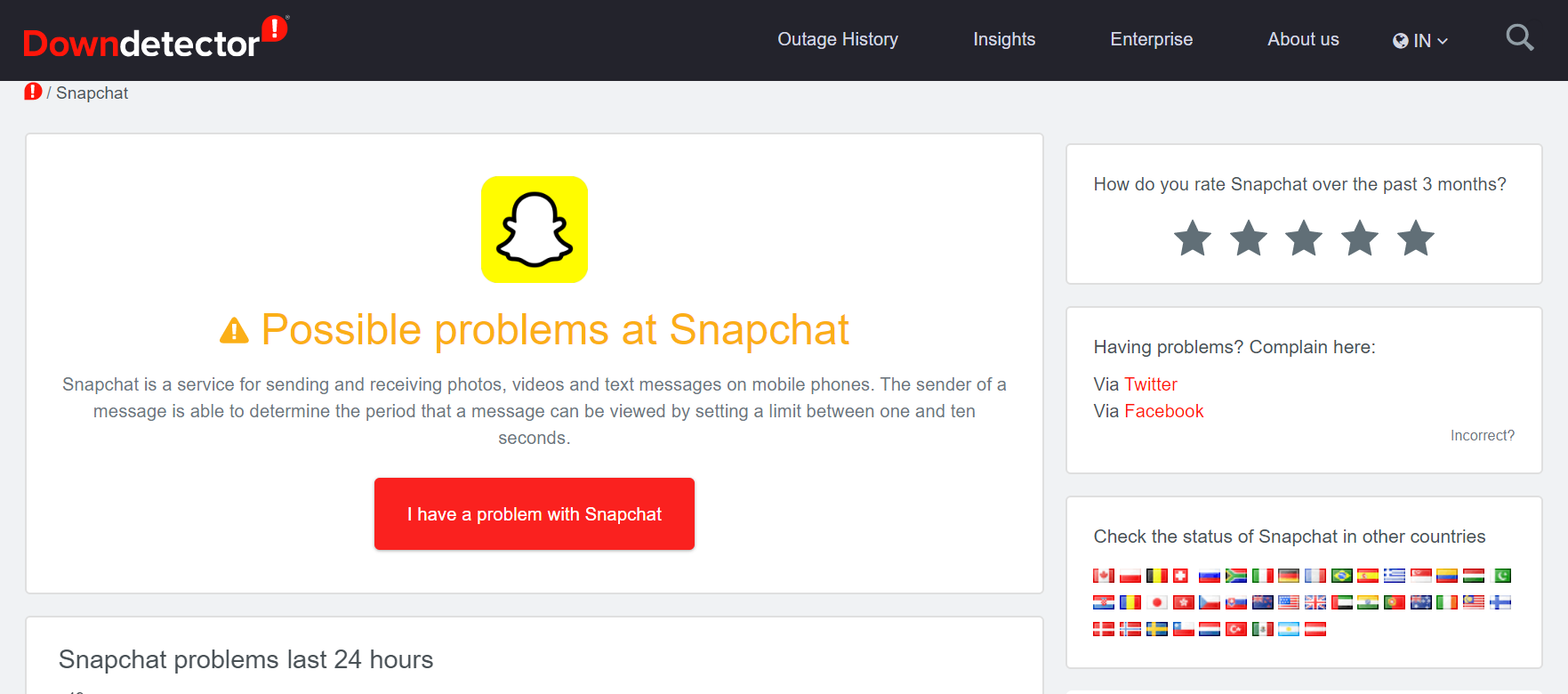 Snapchat is downdetector