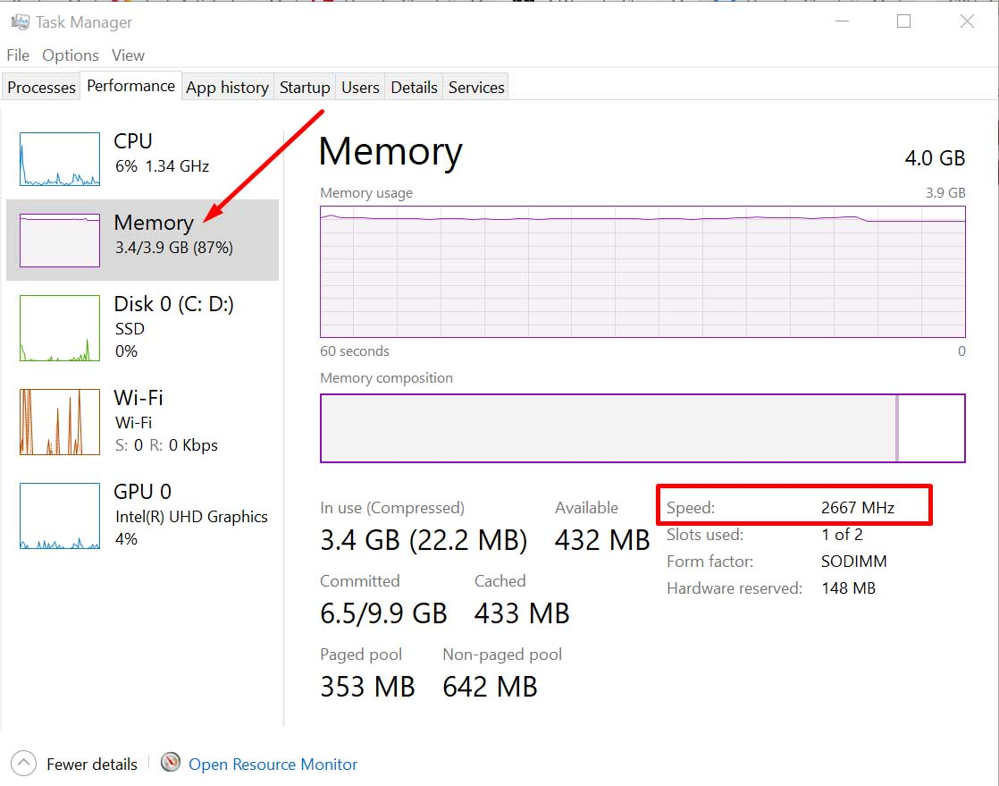 check ram speed task manager