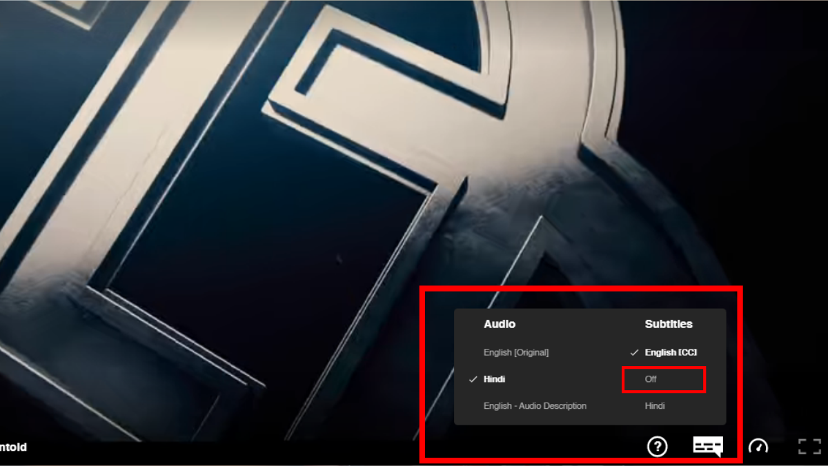 how to turn off subtitles in netflix in browser