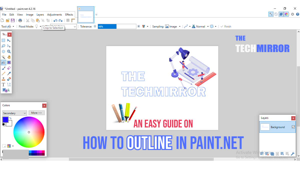 how to outline in paint.net