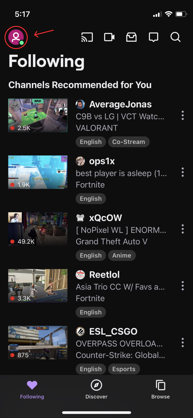 unblock someone on twitch tv ios